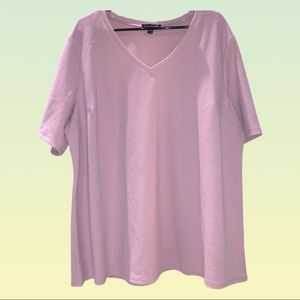 Lane Bryant Dusty Pink Perfect Sleeve V Neck Top